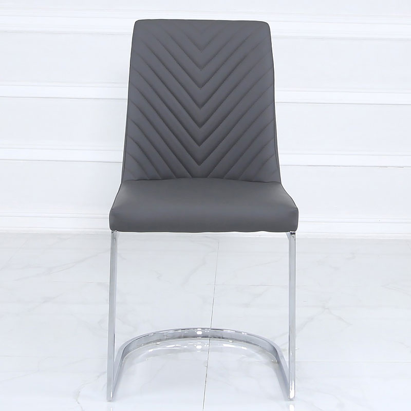 Marvelous Grey Faux Leather Dining Chair With Chevron Pattern And A Chrome Base Picture Perfect Home Unemploymentrelief Wooden Chair Designs For Living Room Unemploymentrelieforg