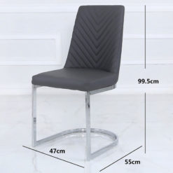 Grey Faux Leather Dining Chair With Chevron Pattern And A Chrome Base
