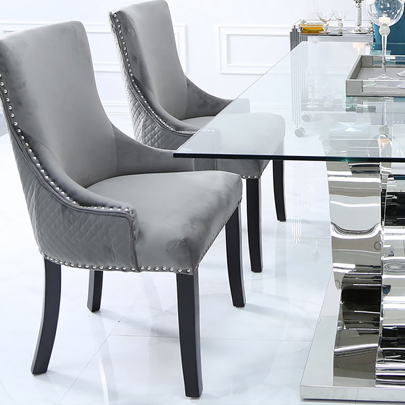 Admirable Grey Velvet Dining Chair With Studded Trims And Ring Knocker Back Picture Perfect Home Bralicious Painted Fabric Chair Ideas Braliciousco
