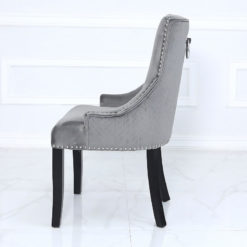 Grey Velvet Dining Chair With Studded Trims And Ring Knocker Back