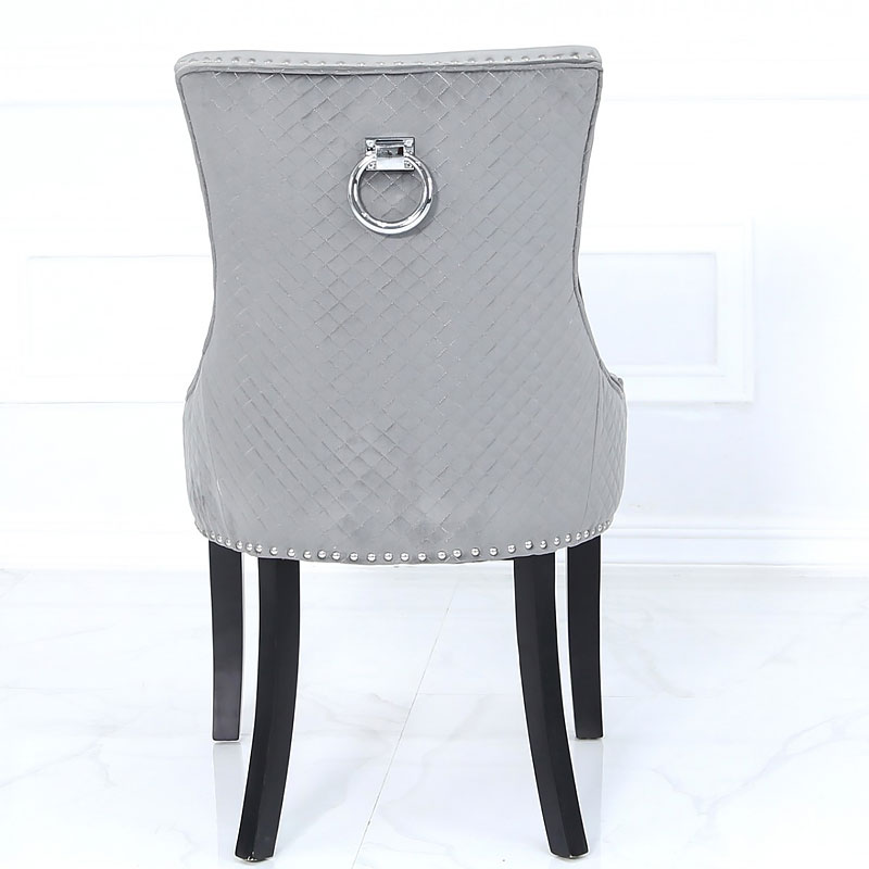 Grey Velvet Dining Chair With Studded Trims And Ring