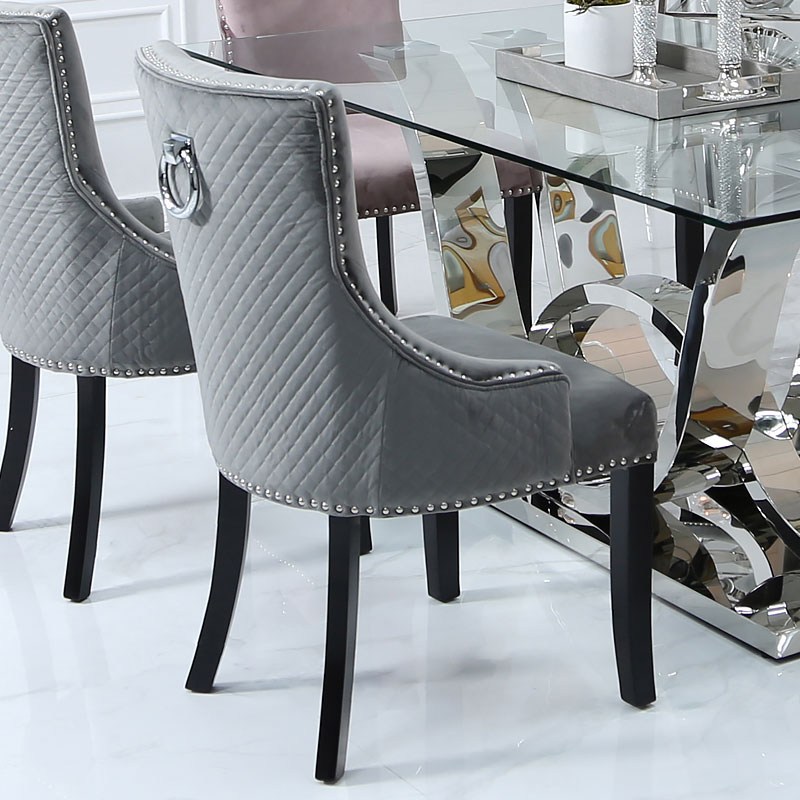 Amazing Grey Velvet Dining Chair With Studded Trims And Ring Knocker Back Gamerscity Chair Design For Home Gamerscityorg