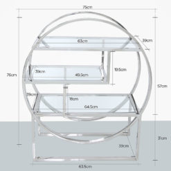 Lennox Steel and Clear Glass 3 Tier Round Shelving Display Unit
