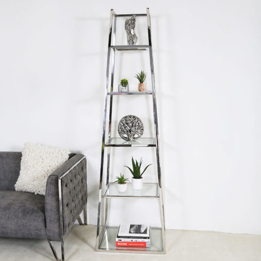 Lennox Steel and Clear Glass Ladder Style Shelving Display Unit