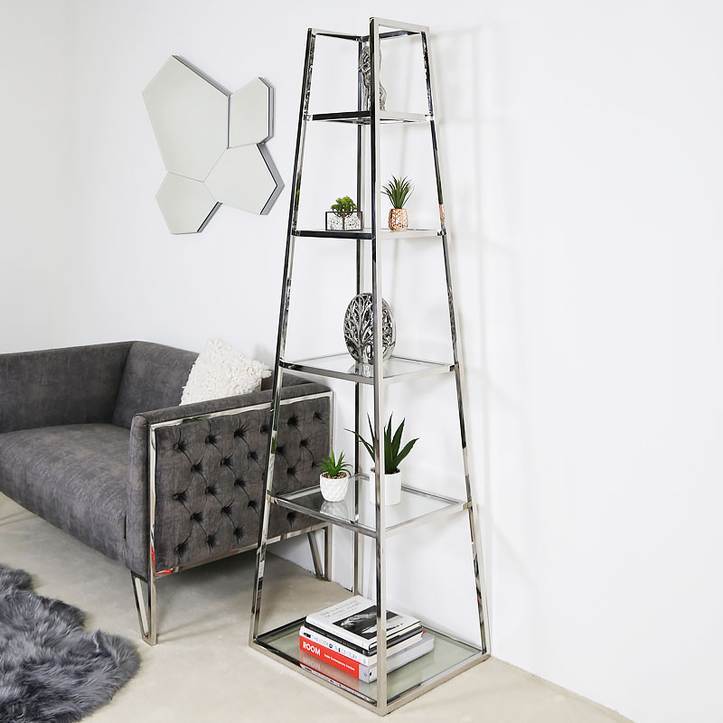 Lennox Steel And Clear Glass Ladder Style Shelving Display