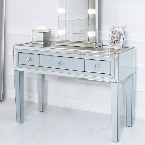 Madison Grey Glass And Mirrored Trim Clear Top 3 Drawer Dressing Table