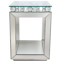 Maia Mirrored Cube Side End Table With Glass Bubbles And A Glass Top