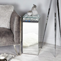 Maia Mirrored Telephone Table With Glass Bubbles And A Glass Top