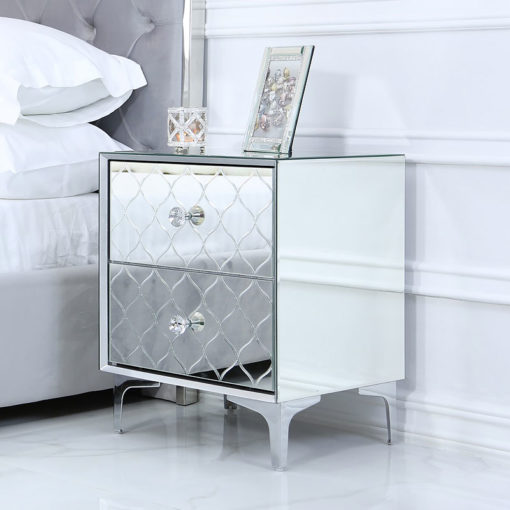 Moresque Silver Mirrored Moroccan 2 Drawer Bedside Cabinet