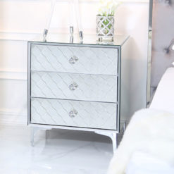 Moresque Silver Mirrored Moroccan 3 Drawer Bedside Cabinet
