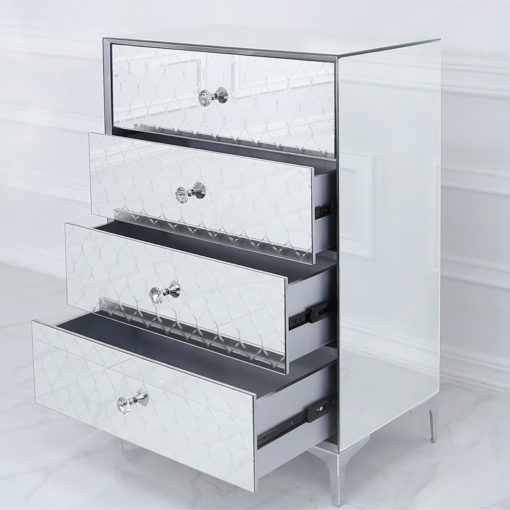 Moresque Silver Mirrored Moroccan 4 Drawer Chest Of Drawers Cabinet