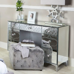 Moresque Silver Mirrored Moroccan 7 Drawer Dressing Table