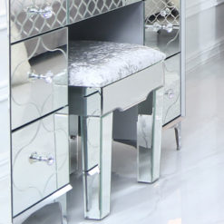 Moresque Silver Mirrored Moroccan Stool With A Plush Velvet Seat