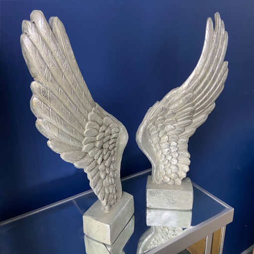 Pair of Decorative Antique Silver Freestanding Angel Wings Sculpture