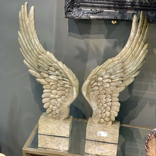 Pair of Decorative Champagne Silver Freestanding Angel Wings Sculpture