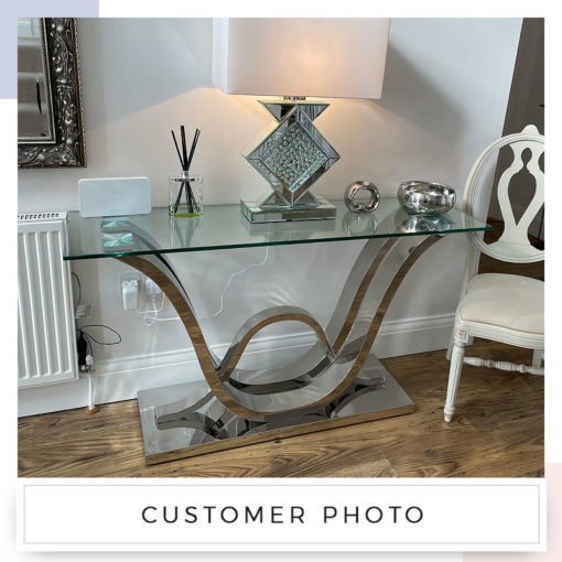 Piper Console Table With A Glass Tabletop And A Stainless Steel Base