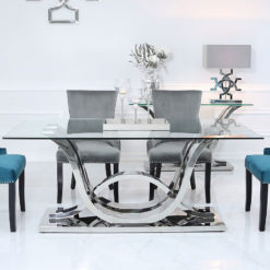 Piper Dining Table With A Glass Tabletop And A Stainless Steel Base