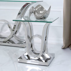 Piper Side End Table With A Glass Tabletop And A Stainless Steel Base