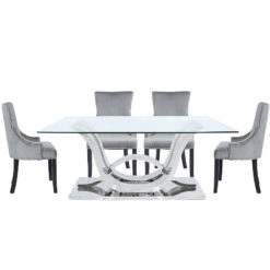 Piper Steel And Glass Dining Table And 6 Grey Velvet Chairs Dining Set