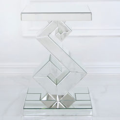 Simone Mirrored S Shape End Side Table With A Mirrored Tabletop