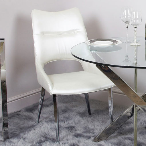 Aurelia Deeply Padded White Faux Leather Dining Chair With Chrome Legs