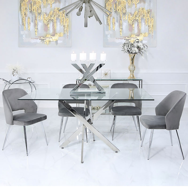 Aurelia Grey Dining Chair With Velvet Upholstered Seat And ...