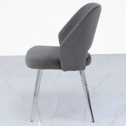 Aurelia Grey Dining Chair With Velvet Upholstered Seat And Chrome Legs
