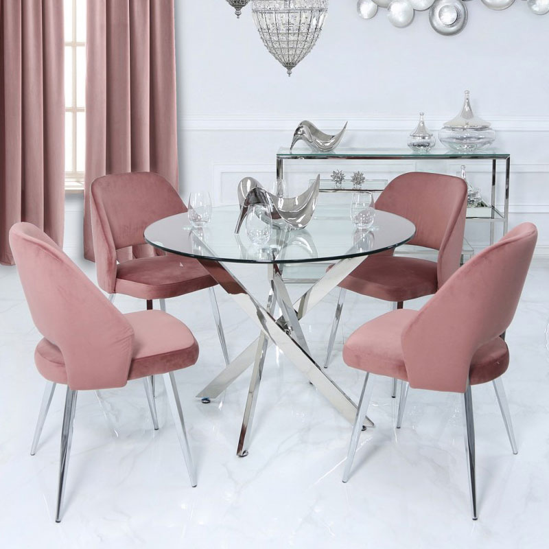 Aurelia Pink Dining Chair With Velvet Upholstered Seat And Chrome Legs Picture Perfect Home