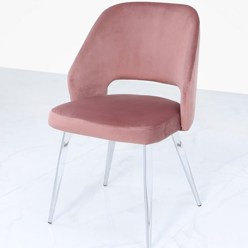 Aurelia Pink Dining Chair With Velvet Upholstered Seat And Chrome Legs
