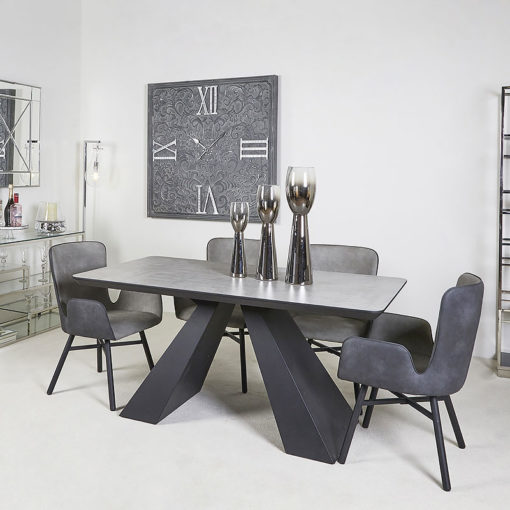 Axel Black And Grey Wooden Dining Table And 4 Grey Dining Chairs Set