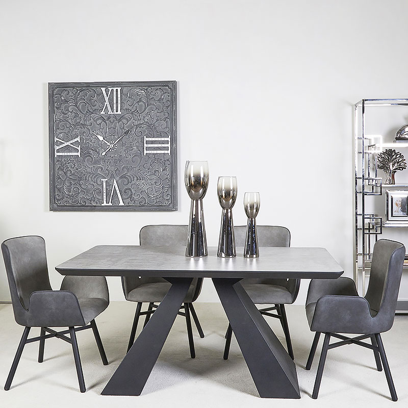 Axel Black And Grey Wooden Dining Table And 4 Grey Dining Chairs Set Picture Perfect Home