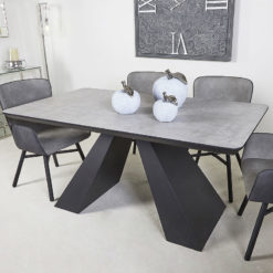 Axel Dining Table With Black Wooden Base And Grey Wood Veneer Tabletop
