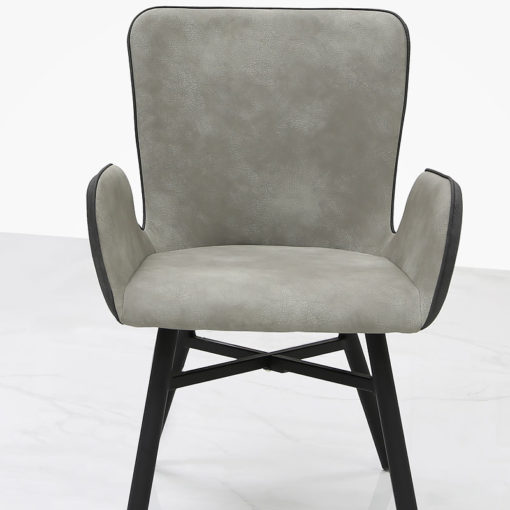 Axel Grey Dining Chair With Suede Style Upholstery And Cushioned Back
