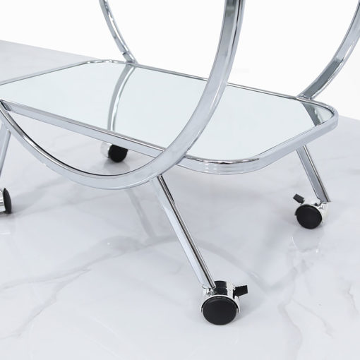 Bailey Drinks Trolley With Circular Chrome Frame And A Mirrored Shelf