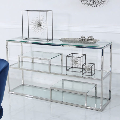 Bailey Stainless Steel 3 Tier Console Table With Glass Shelves