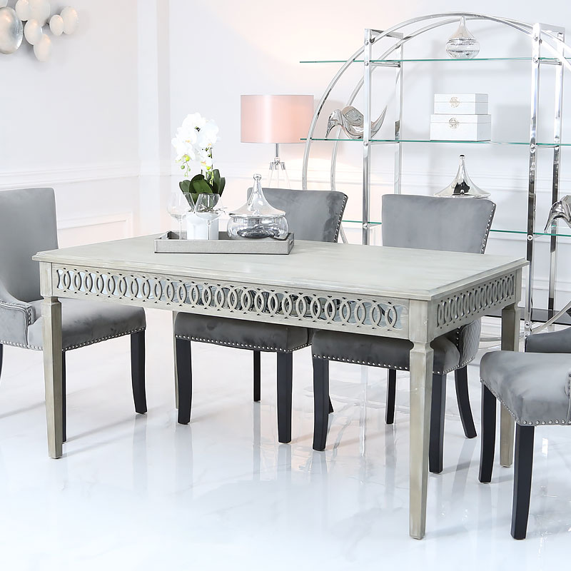 new product de0df cf0fb Bayside Mirrored 160cm Dining Table and 6 Grey Velvet Chairs Set   Picture  Perfect Home