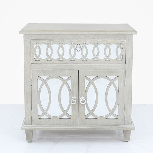 Bayside Mirrored Hampton Style 2 Door 1 Drawer Cabinet Sideboard