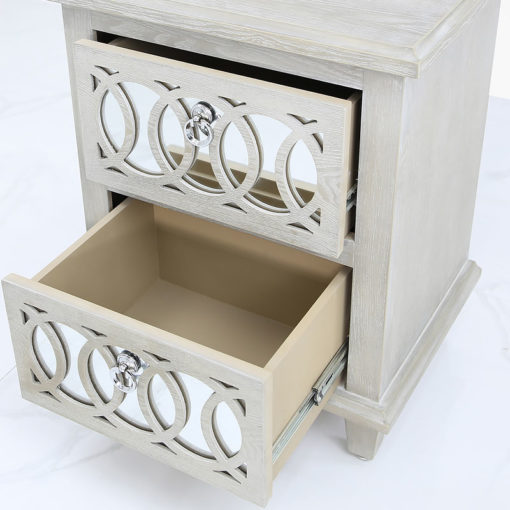 Bayside Mirrored Hampton Style 2 Drawer Bedside Cabinet Table