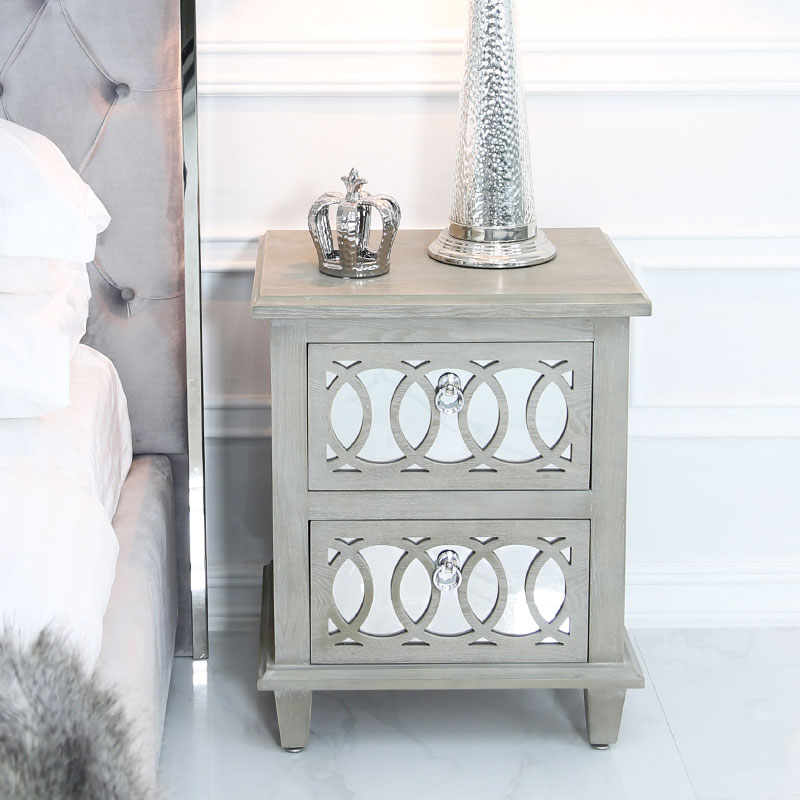 Bayside Mirrored Hampton Style 2 Drawer Bedside Cabinet