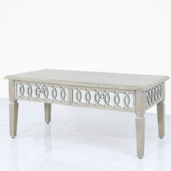 Bayside Mirrored Hampton Style 2 Drawer Coffee Lounge Table