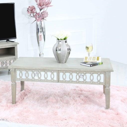 Bayside Mirrored Hampton Style 2 Drawer Coffee Lounge Table