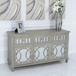 Bayside Mirrored Hampton Style 3 Door 3 Drawer Sideboard Cabinet