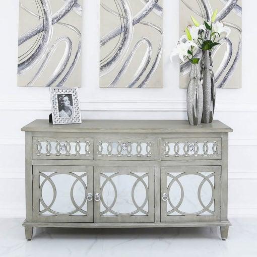 Bayside Mirrored Hampton Style 3 Door 3 Drawer Sideboard Cabinet