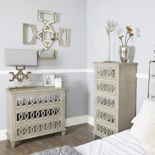 Bayside Mirrored Hampton Style 3 Drawer Chest Of Drawers Cabinet