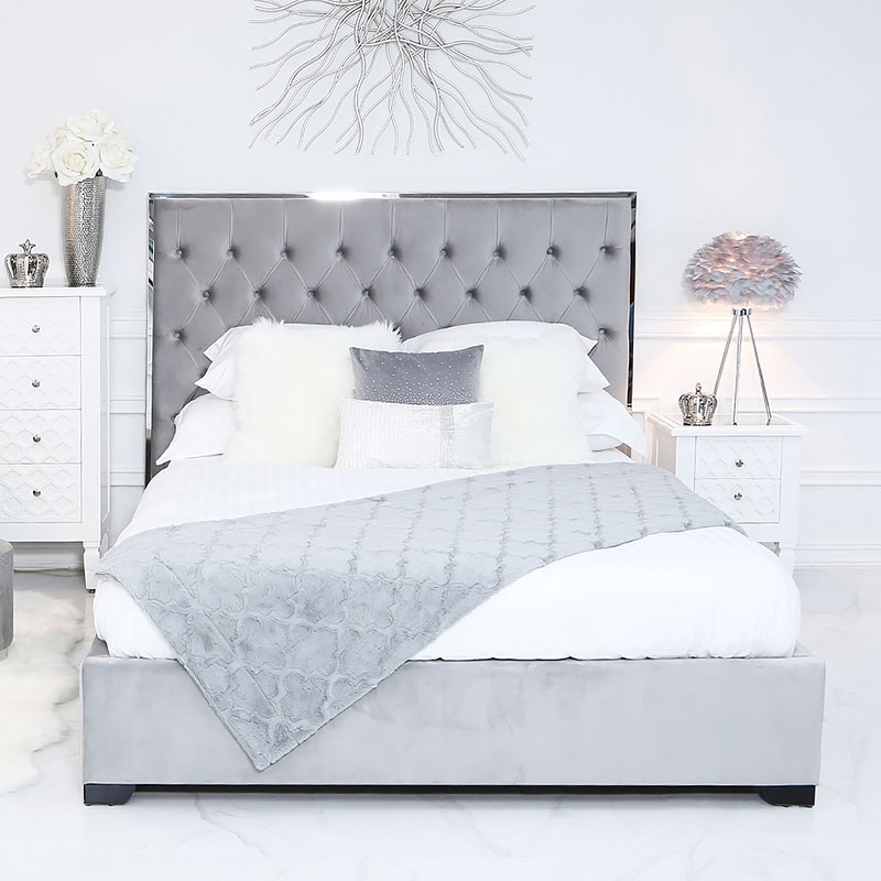 Grey King Size Bed With A Chrome Frame And Velvet Style Upholstery Picture Perfect Home