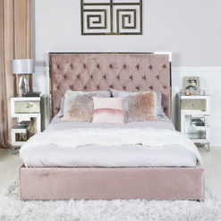 Rose Pink King Size Bed With Chrome Frame And Velvet Style Upholstery