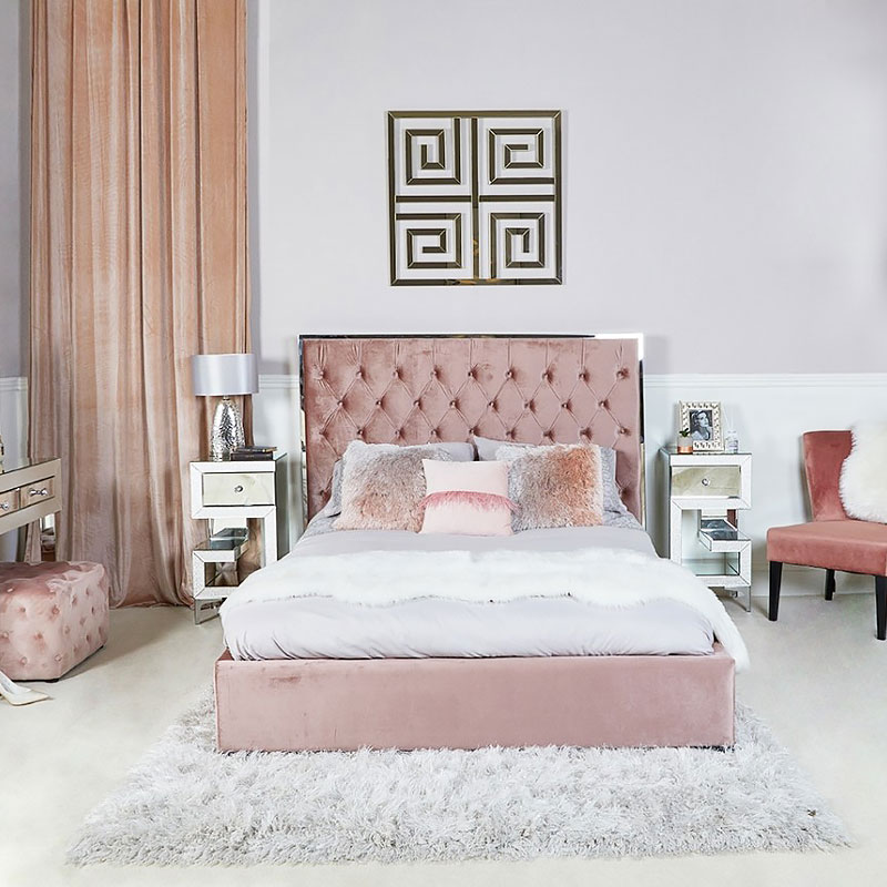 Rose Pink Doublesize Bed With Chrome Frame And Velvet