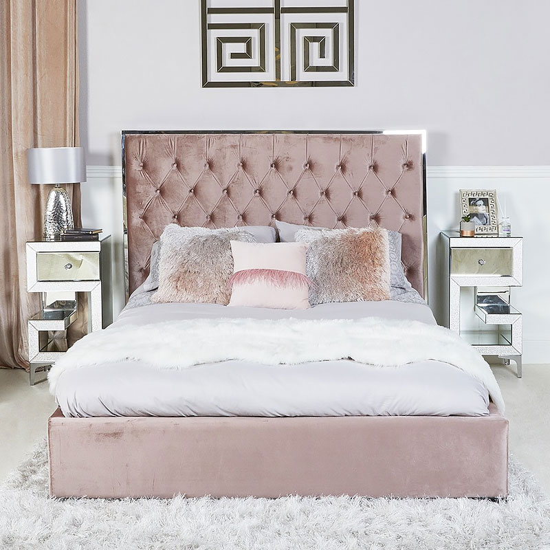 Rose Pink King Size Bed With Chrome Frame And Velvet Style