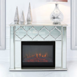 Sahara Marrakech Moroccan Silver Mirrored Electric Fireplace Surround