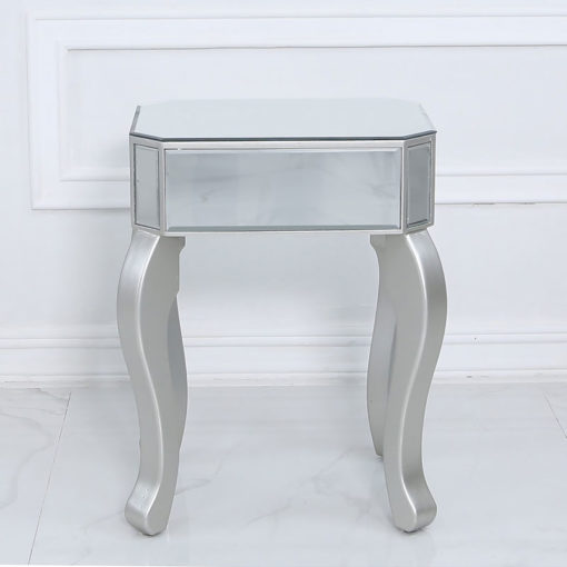 Amelia Mirrored Silver 1 Drawer End Side Table With A Crystal Handle